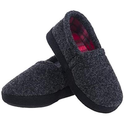 festooning Little Big Kids Boys Slippers Warm Slip On House Slipper Shoes with Memory Foam Indoor Anti Skid Rubber Sole