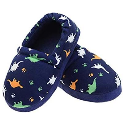 LA PLAGE Dinosaur Slippers for Boys Anti Slip Little Kid Slippers for Kid with Memory Foam