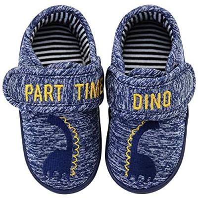 Vonair Boys Slippers Toddler Dinosaur Indoor Outdoor Cartoon House Shoes Slip-on Kids Bedroom Animal Slippers