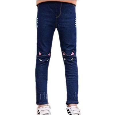 Colorful Childhood Girls Jeans Big Kids Cat Distressed Ripped Hole Slim Denim Pants Teens Jeans