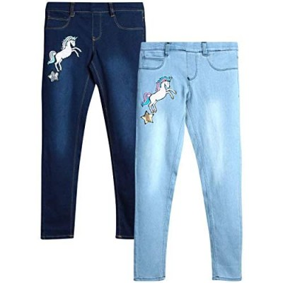 dELiAs Girls' Super Stretch Denim Jegging Jeans with Critter Embroidery (2 Pack)