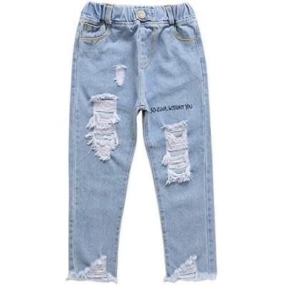 JELEUON Big Girls Kids Child Distressed Ripped Hole Teens Jean Sport Casual Street Denim Pants