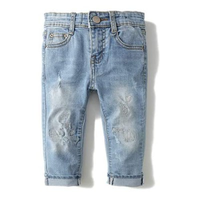 Kidscool Baby Little Kids Ripped Holes Stone Washed Soft Slim Jeans