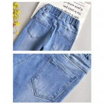 SITENG Big Girls Kids Ripped Hole Washed Elastic Waist Jeans with Bow Knot Slim Denim Pants