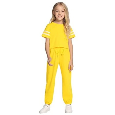 Arshiner Girls Clothing Sets Soft 2 Piece Outfits Short Sleeve for Size 5-13 Years