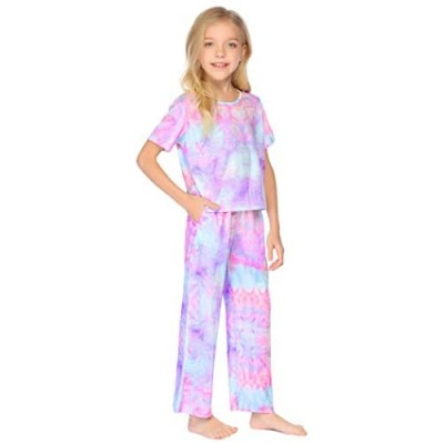 Arshiner Girls Tie dye Outfits 2 PCS Short Sleeve Tops Clothing Sets Loungwear for Girl 4-13Y