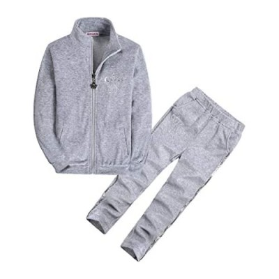 Girls' 2 Piece Velour Jog Set Long Sleeve Top and Pants Set Clothes for Little Girl 3-14 Years