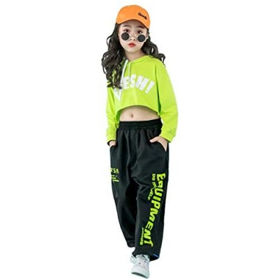Girls' Hip Hop Costume 2 Piece Dance Outfits  Kids' Cropped Hoodie Joggers Pants Clothes Set