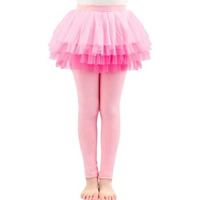 Auranso Little Girls Footless Leggings Pants with Lace Ruffle Tutu Skirt 2-9T