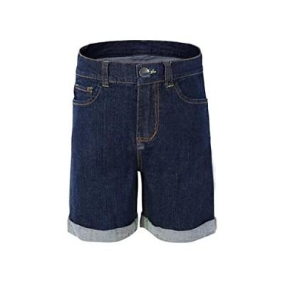 Bienzoe Girl's Denim High Waist Rolled Hem Stretchy Navy Jeans Shorts