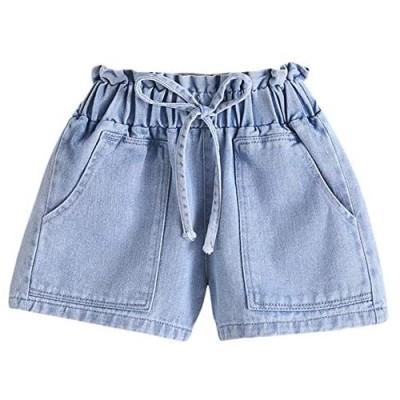 BIUXIAOBAI Girls' Stretch High Waisted Jeans Denim Shorts with Drawstring