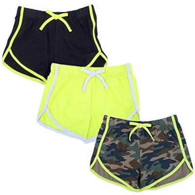 Girls 3 Pack Dolphin Shorts Workout and Fashion Solid and Floral Print