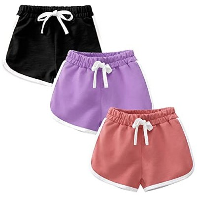 Girls Boys 3 Pack Running Athletic Cotton Shorts  Kids Baby Workout and Fashion Dolphin Summer Beach Sports