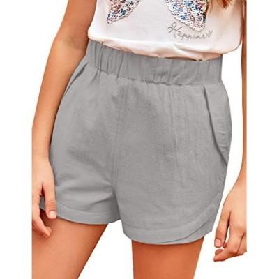 GRAPENT Girls' Summer Elastic Waist Shorts Loose Casual Pockets Shorts 6-13 Years