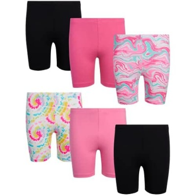 One Step Up Girls' Active Shorts – 6 Piece Dance and Play Bike Shorts