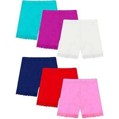 Resinta 6 Pack Girls Lace Shorts Dance Shorts Girls Bike Shorts Breathable Safety 6 Colors