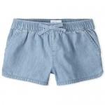 The Children's Place Girls' Denim Pull on Shorts