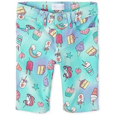 The Children's Place Girls' Rainbow Unicorn Denim Skimmer Shorts